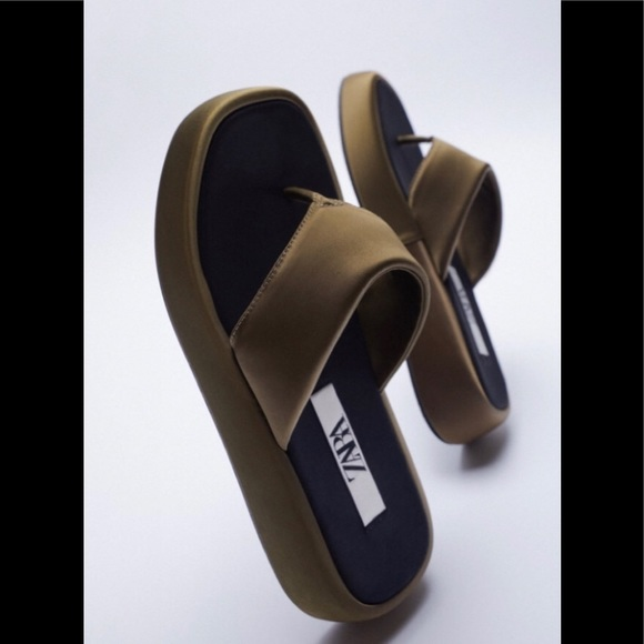 Zara Olive Platform Sandals